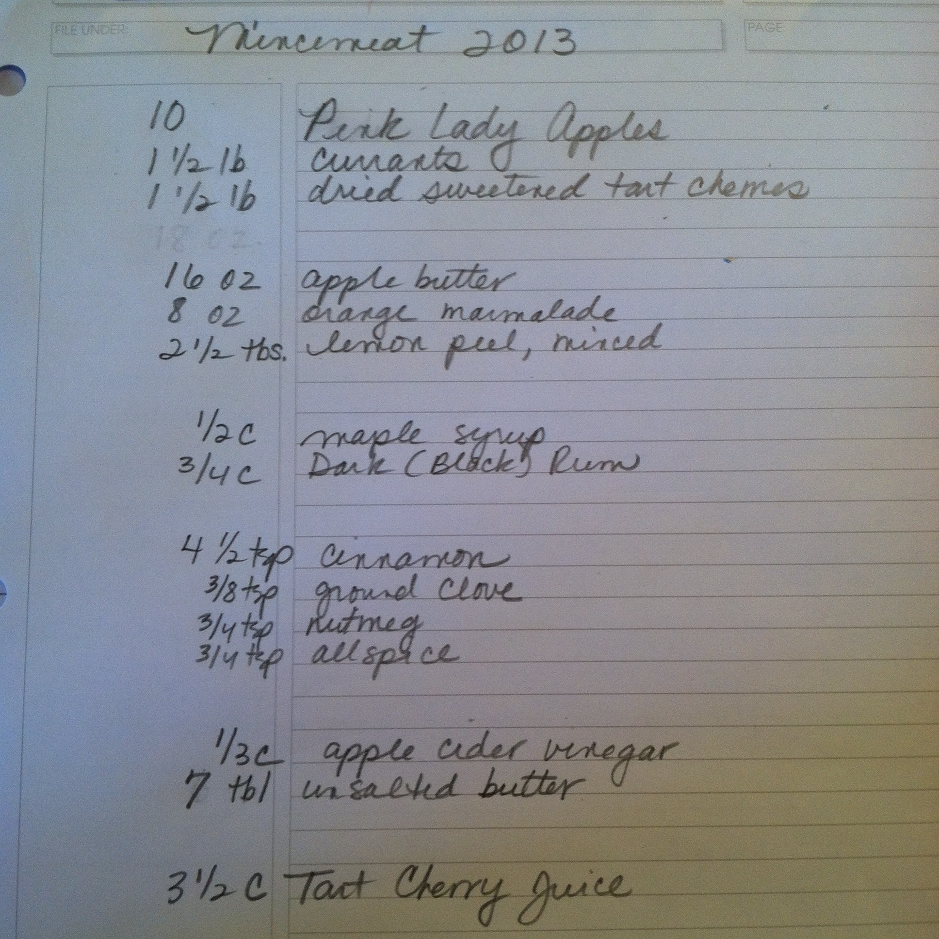 Mincemeat 2013 Recipe